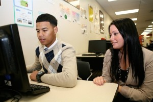 Ombudsman South student Dontey Seong (left) says he gets the support he needs there. Teacher Brooke Monaghan (right) values the alternative school's emphasis on building relationships. (Photo: Harvey Finkle)