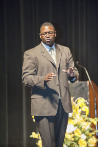 Motivational speaker Mizell Williams speaks to the Ombudsman Education School's class of 2013 during Wednesday's commencement ceremony.