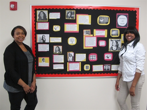 Ombudsman South student, Sasha Spenser works with teacher, Dara Leonard, to build a Women's History Month wall collage honoring women who have excelled in mathematics. Throughout the month, Ombudsman teachers educated students on the importance of positive self-esteem by creating wall collages where students and staff shared motivational quotes, personal affirmations and photos of empowered women who have impacted their lives.