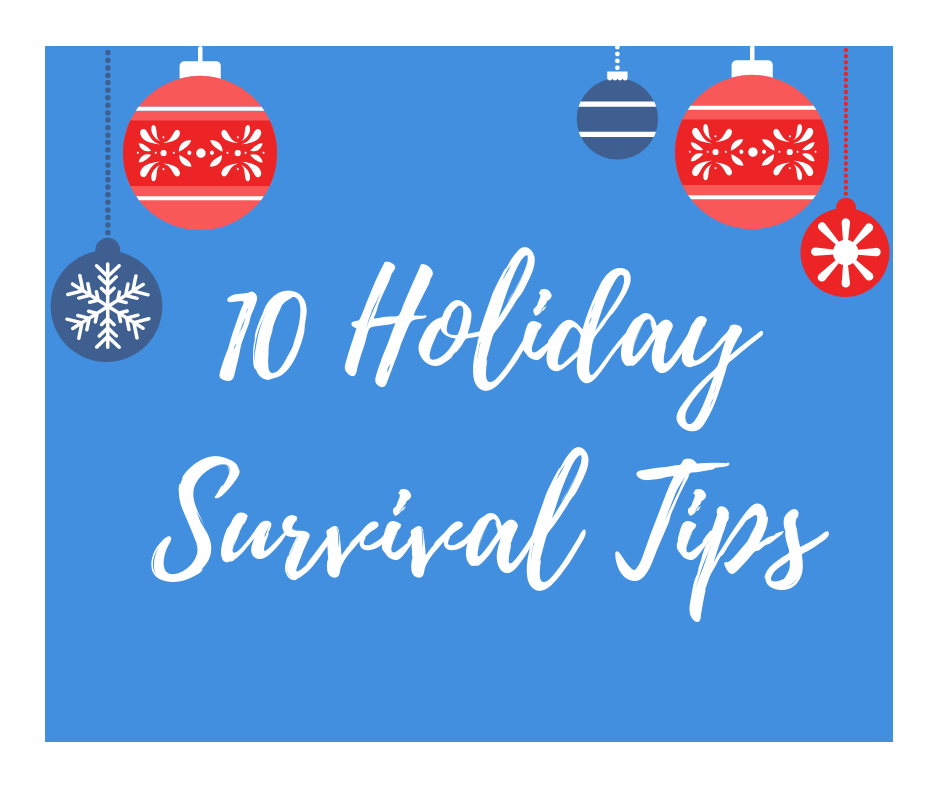 "graphic of a solid blue square with holiday ornaments placed along the top and the words ""10 Holiday Survival Tips"" in a script typeface"